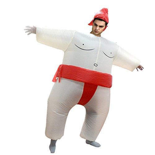 PETSOLA Aufblasbare Sumo Ringer Kostüm Kostüm Erwachsene Fett Anzug Outfit Gelb - Rot