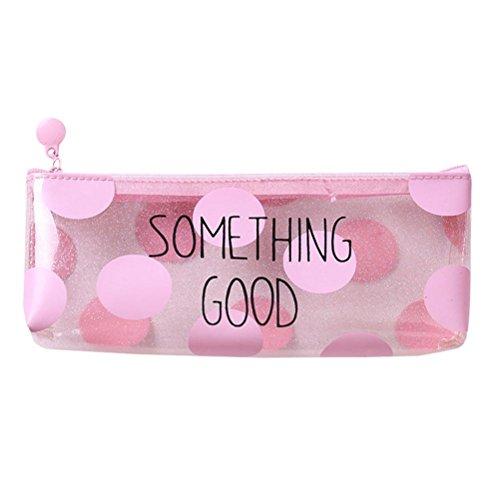 Estuche Escolar Barato,  Zolimx Rosa Transparente Lápiz Caso Cosmético Bolsa Maquillaje Bolsas Lápices Caja Estuche Escolar Niña (22 * 8 cm, A)