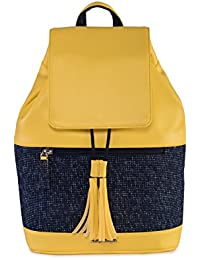 Veuza Berlin Premium Jacquard And Faux Leather Jaune Yellow Backpack