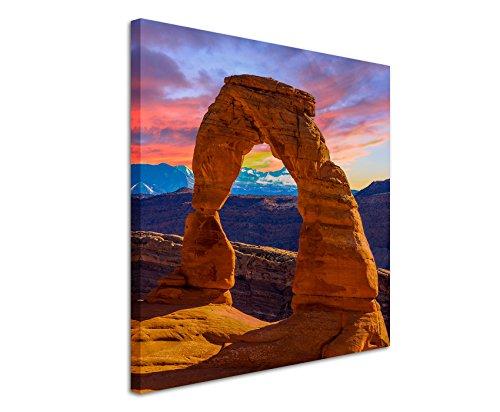 Quadratische Fotoleinwand 90x90cm Landschaftsfotografie – Arches Nationalpark, Utah, USA auf Leinwand exklusives Wandbild moderne Fotografie für ihre Wand in vielen Größen