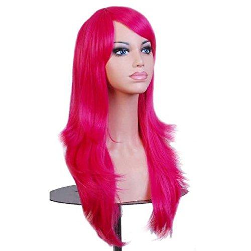 etruke longue fille de cheveux ondulés résistant à la chaleur pour cosplay perruques Rose