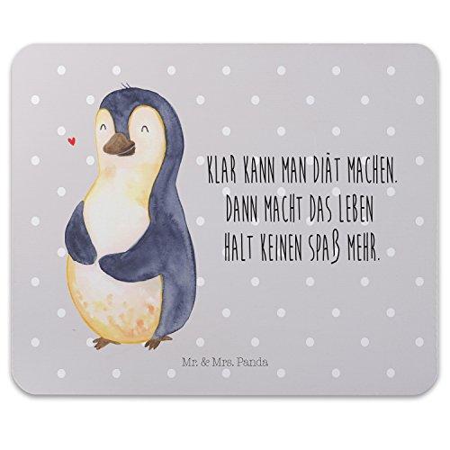 Mr. & Mrs. Panda Büro, Arbeit, Mauspad Pinguin Diät mit Spruch - Farbe Grau Pastell -