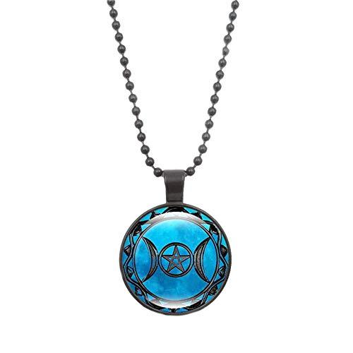 Damenmode-Halskette, Zeit-Edelstein-Halsketten-magische Zeichen-Glasanhänger-Strickjacken-Halsketten-Kette