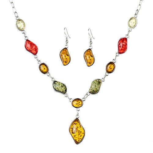 YAZILIND Frauen-Weinlese-Silber überzogene orange Bernstein Hochzeit Schmuck-Sets Kettenhalsketten-Ohrring-Sätze