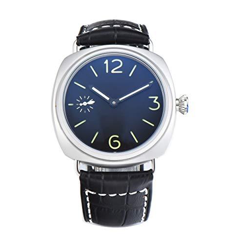 PARNIS-MM 9507 Herrenuhr Handaufzug-Uhr 45mm Edelstahl-Gehäuse Leder Mineralglas 5BAR Seagull ST36 Uhrwerk Sandwich-Zifferblatt dezentrale Sekunde