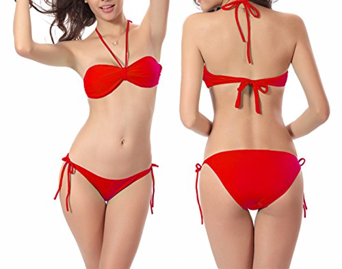 Damen Basic Bandeaubikini suit Push Up Badeanzug Bademode Badebekleidung Rot