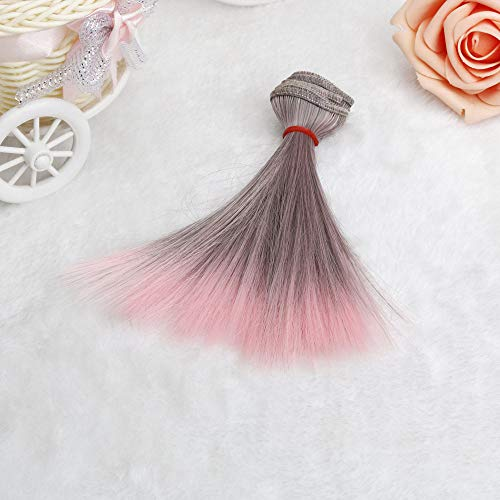 Berrose 15cm Gradient Perücke Mode Glattes Haar Großhandel Puppe Frauen Synthetische Gradienten Hellviolette Hitzebeständige Lange