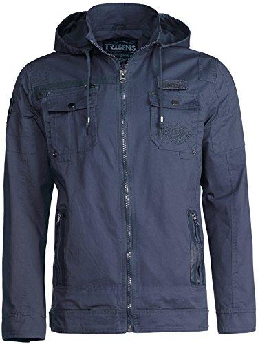 Trisens Herren ÜBERGANGSJACKE Military Style Kapuze Jacke Army Fliegerjacke, Farbe:Dunkelblau, Größe:XL