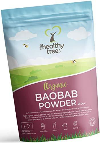 Bio Baobab-Pulver - reich an Ballaststoffen, Kalzium und Vitamin C - ideal für Haferbrei und Smoothies - reines Superfruit-Baobab-Pulver von TheHealthyTree Company -