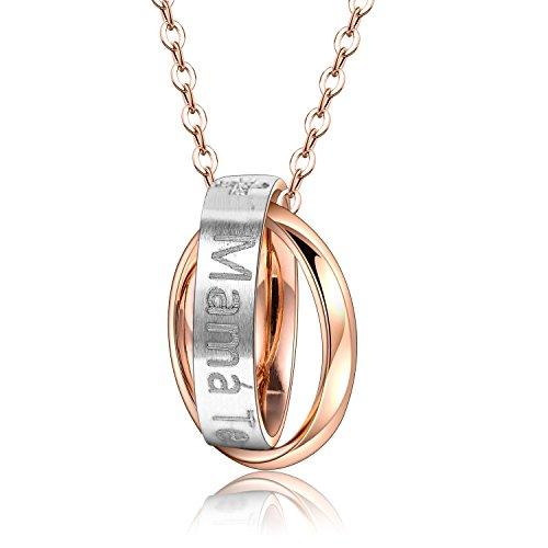 Bliqniq Te amo-Collar Collares con Pendientes Mujer Plata Rosa con AAA+ Cristales con Grabado 'Mamá Te Amo por siempre' Cadena de Extensión de 46+4cm, regalo de cumpleaños, Nunca se desvanecen