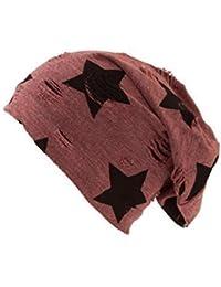 Shenky Rot Destroyed Stern langer Jersey Beanie Mütze Distressed