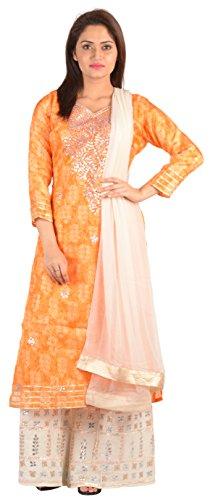 SAKSHI by JJS Women's Kota Silk Salwar Suit Set (TC-3008C--XXL, Orange, XX-Large)