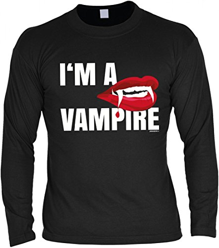 ren Langarmshirt zu Halloween - I´m a Vampire - Geschenk-Idee zur gruseligsten Zeit Des Jahres in Farbe: Schwarz, Größe:3XL (Vampir Outfits Ideen)