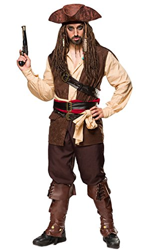 Qualität Sparrow Kostüm Jack - 1001-kleine-Sachen at 9-TLG. Karneval Komplett-Set Captain Jack - Jack Sparrow aus Pistole, Hut, Kopftuch, Hemd, Weste, Hose, Beinstulpen, 2 Tücher, 3 Gürtel in braun beige von MASK Paradise (L)