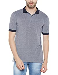 Wittrends Men's Grey Cotton Pique Half Sleeves Polo T-Shirt With Contrast Collars And Sleeves Rib