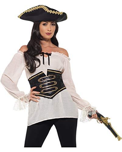 Schatz Kostüm Sexy Piraten - Horror-Shop Damen Deluxe Piraten Kostüm-Bluse mit Corsage L