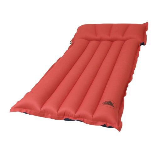 10T Ruby Recline Baumwoll-Tube-Matratze für 1 Person 184x60x13cm Luftmatratze Luftbett Campingmatte Strand-Matratze mit Aussenbezug aus Baumwolle im rot - blauen Retro Design