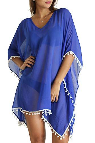 M&B USA Damen Casual Kleid Badeanzug Tie Dye Sommer Strand Bademode Überzug One Size königsblau -