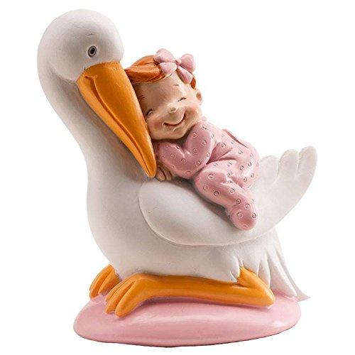 Si estas preparando el bautio de tu bebe, un detalle que no puede faltar es la gran tarta. Te damos una original idea para adornarla con esta figura de resina. Tiene la forma de una cigüeña en la cual descansa un tierno bebe tumbado encima de ella. L...