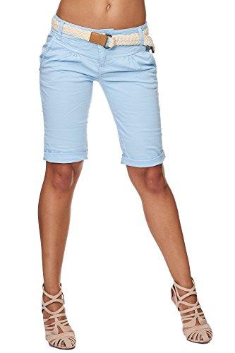 Fresh Made Femme Cuba Chino Shorts Bermuda Pantalon Avec Ceintur D6053Z60080 Pastel XS S M L XL Pastel Blue