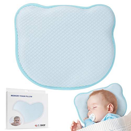Orlegol Baby Kissen, Orthopädisches Babykissen Gegen Verformung Plattkopf Baby Pillow Vorsorge der Plagiozephalie Kleines Babykopfkissen Wechselbare Kopfkissenbezüge Säugling Lagerungskissen - Blau