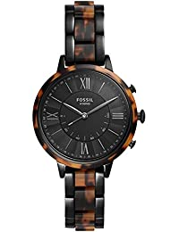 Fossil Hybrid Smartwatch Jacqueline Two-Tone Black and Tortoise Stainless Steel Woman FTW5058