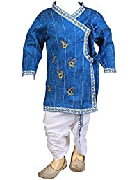 FOCIL Blue Peacock Feather Embroidery Dhoti Kurta Pant Set For Kids ( 6-12 Months)