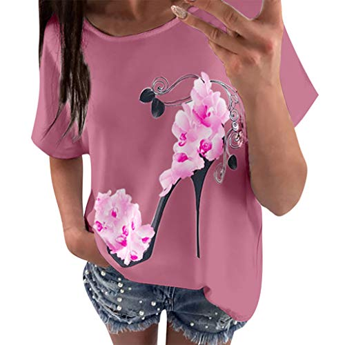OVERDOSE Frauen Kurzarm Blumen Pumps Gedruckt Tops Strand Beiläufige Lose Bluse Top T-Shirt (EU-36/CN-S, X-f-rosa)