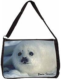 Snow Seal 'Yours Forever' Large Black Laptop Shoulder Bag Christmas Gift Idea