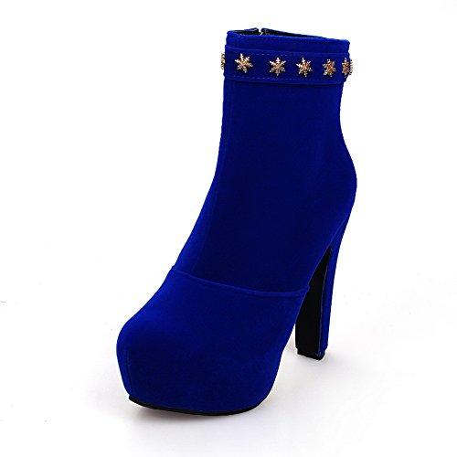 VogueZone009 Damen Eingelegt Hoher Absatz Rund Zehe Nubukleder Reißverschluss Stiefel Blau