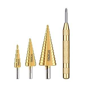 Set di Punte a Gradini Tacklife PSD2 Kit di 3 Punte Tonde HSS in Titanio per Trapano Totale 29 Dimensioni e 1 Punzone Centrale Automatico 127mm