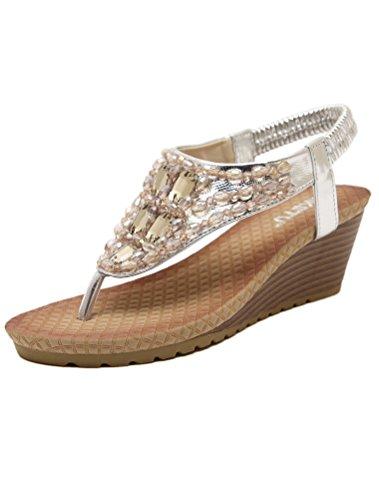Vogstyle Damen Sommer Bohemia Sandalen Zehentrenner Clip Toe Flip Flops Strand Schuhe Art 6-Silber