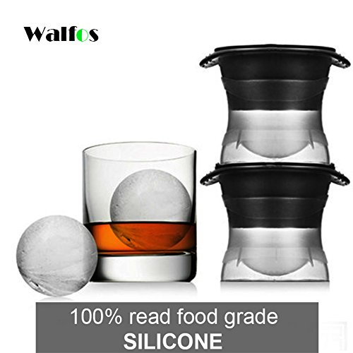 Sarvoday Silicone Ice Ball Maker Sphere Mold (2.5 inch, Black) - Set of 2
