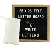 Gadgy ® Felt Letter Board 10x10 inch   Retro Wood   With 340 White and Gold Coloured Letters & Numbers, Stand and Bag