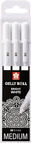 "Sakura Gelly Roll Basic bianco, 3 penne 'Bright White"" con custodia, set di 3"