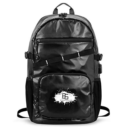 Laptop-Rucksack für Damen, Herren, täglicher Reiserucksack für Schule mit USB-Ladeanschluss, wasserdicht, modisch, leicht, Schwarz