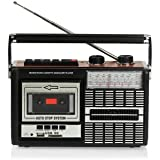 Ricatech PR85 - Radio cassette, grabador USB/SD, color negro