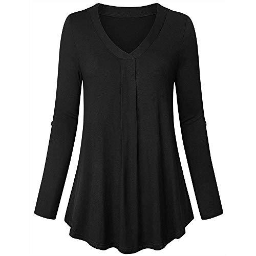 3/4 Sleeve Wool Pullover (OverDose Damen Sommer Herbst Freizeit Oberteile Bluse Mode Frauen Split V-Ausschnitt 3/4 Roll-up Sleeve Button Tops Casual Blusen Shirts)