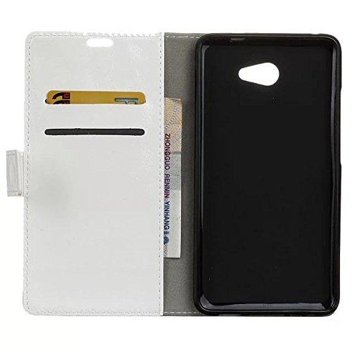Vodafone Ultra 7 Gehäuseabdeckung, Solid Color Premium Leder Gehäuseständer Wallet Case mit Kartensteckplätzen für Vodafone Ultra 7 ( Color : Black , Size : Vodafone Ultra 7 ) White
