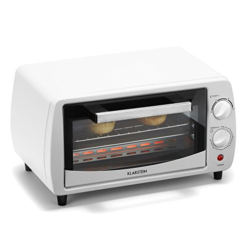 Klarstein Minibreak Mini Oven � 11 Litres � 800 W � Two Quartz Heating Elements � 60 Minutes Timer � 250� C � Space-Saving Cooking Chamber � For Small Kitchens � Enamelled Baking Tray and Chromium-Plated Grill Included � Interior Galvanized � White