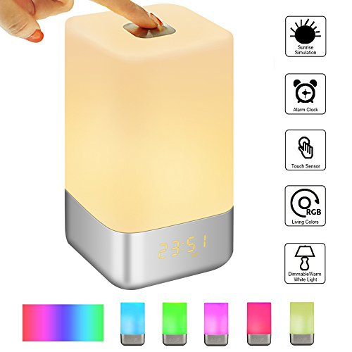 Lichtwecker,SOLMORE Wake Up Licht Light LED Wecker Licht Sonnenaufgang Tageslichtwecker Nachtlicht Touch LED Nachttischlampe mit fünf Natur Sounds Sieben Farben für Zimmer