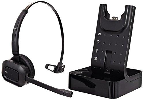 V7 HSW100-1E Schnurloses Büro-DECT-Headset (Noise Cancelling, Mute-Taste, Lithium-Ionen Akku, EU-Stecker) - Dect-headset
