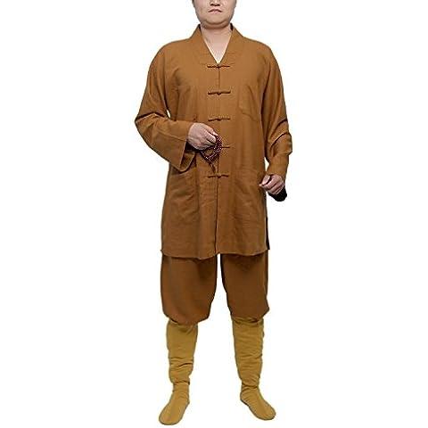 Tradicional ICNBUYS Kung Fu Shaolin hombres bata de algodón y lino, hombre, color  - ocre, tamaño large