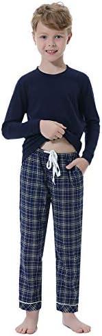 Hawiton Pijama de 100% algodón de Manga Largos para niños,Pijama de 6-16 años,Camiseta Pura y Pantalones de ce