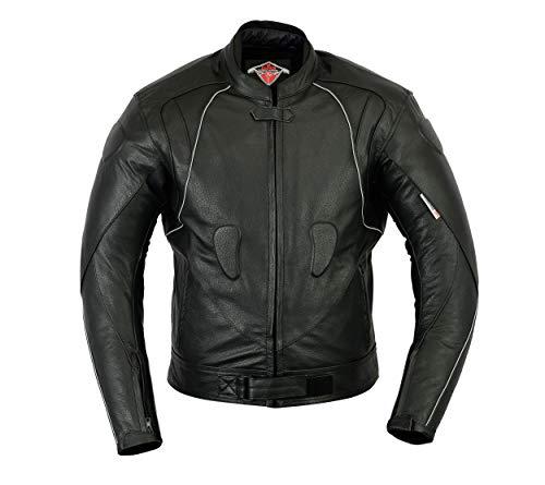 Texpeed Herren Roko Leder Motorrad Racing Jacket-schwarz, Mittel