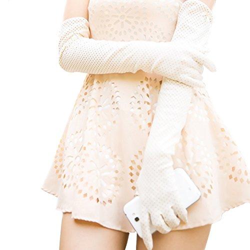 Nappaglo Damen Lange Sonnenschutz-Handschuhe Touchscreen Baumwolle Outdoor für Sommer UV-Schutz (cremig-weiß (Non-Touchscreen))
