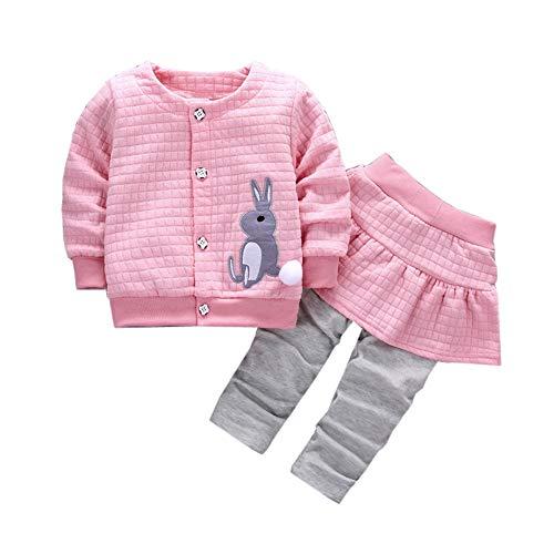 Riou Mantel Baby Kleidung Winter Warme Mantel Kapuzenjacke Kinderjacke Wintermantel Daunenjacke Weihnachten Kleinkind Mädchen Kaninchen Print Tops Mantel + Hosen Outfits Kleidung Set (110, Rosa)