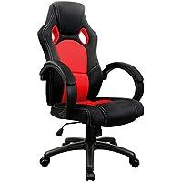 Sedia da ufficio Sedia sportiva nera/rossa Sedia girevole Sedia da scrivania Sedia direzionale (Sedia Da Ufficio Poggiatesta)