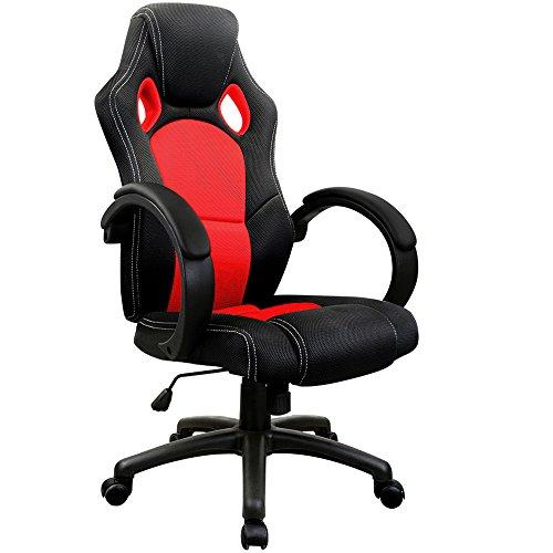 Deuba Bürostuhl Drehstuhl Racing I Wippfunktion I Armlehnen gepolstert I Ergonomisch I Schwarz Rot Stoff I Gaming Chair