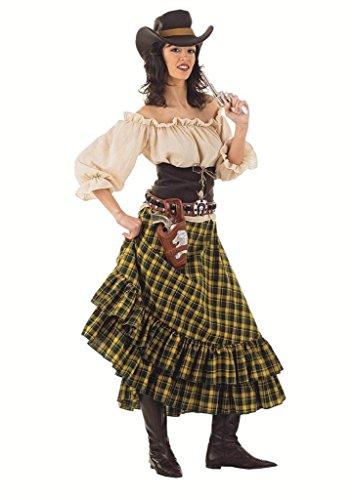 Cowboy Frauen Kostüm - Limit Sport MA617 G.S - Damenkostüm Wildwest-Banditin 4-teilig (Hemd-Rock-Hut-Mieder)